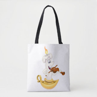 white tote bag with cartoon candle