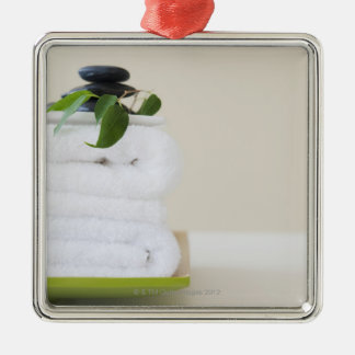 White towels and spa stones square metal christmas ornament