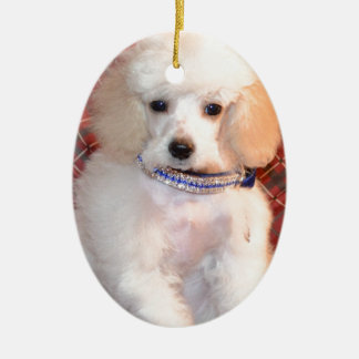 White Toy Poodle Fluffy Puppy Ceramic Ornament