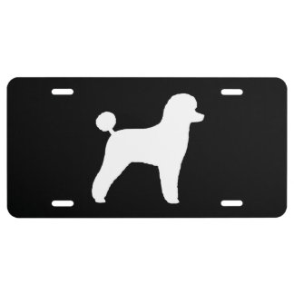 White Toy Poodle Silhouette License Plate