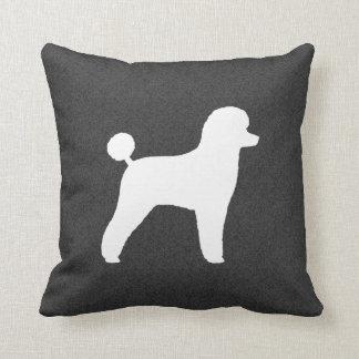 White Toy Poodle Silhouette Throw Pillow