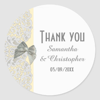 White traditional lace any color  thank you classic round sticker