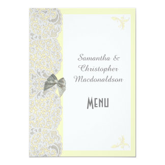 White traditional lace any color wedding menu card
