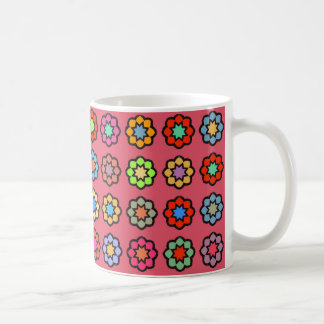 "White traditional Mug ""Flowers on dark pink bottom"