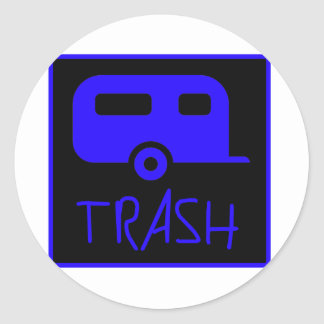 White Trailer Park Trash Poor Dumb Redneck Classic Round Sticker