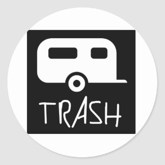 White Trailer Park Trash Poor Dumb Redneck Classic Round Sticker