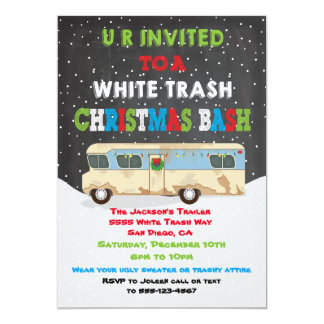 Redneck party invitations announcements zazzle white trailer trash christmas party bash card stopboris Choice Image