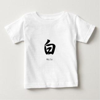 White translated into Japanese kanji symbols. T-shirt