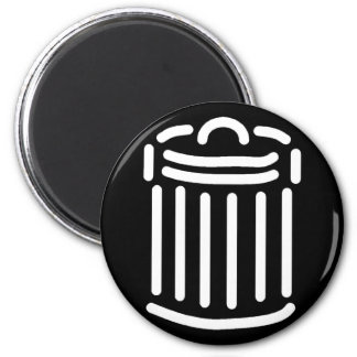 White Trash Can Symbol 2 Inch Round Magnet
