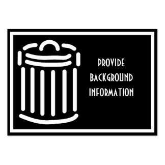 White Trash Can Symbol Large Business Cards (Pack Of 100)