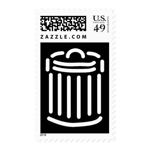 White Trash Can Symbol (For Dark Backgrounds) Postage Stamps