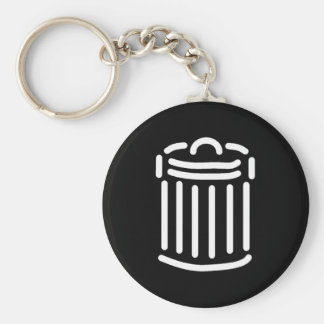 White Trash Can Symbol Keychain
