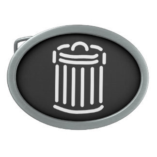 White Trash Can Symbol Oval Belt Buckle