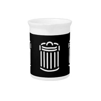 White Trash Can Symbol Pitcher