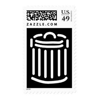 White Trash Can Symbol Postage