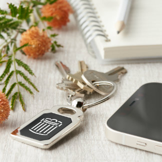 White Trash Can Symbol Silver-Colored Rectangular Metal Keychain