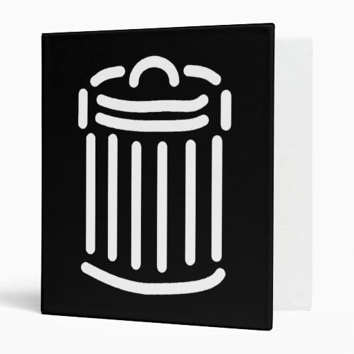 White Trash Can Symbol Vinyl Binders