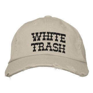 WHITE TRASH EMBROIDERED BASEBALL CAP