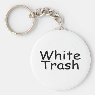 White Trash Basic Round Button Keychain
