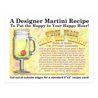 White Trash Lemon Drop Joke Martini Recipe Postcar Postcard