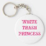 WHITE TRASH PRINCESS BASIC ROUND BUTTON KEYCHAIN