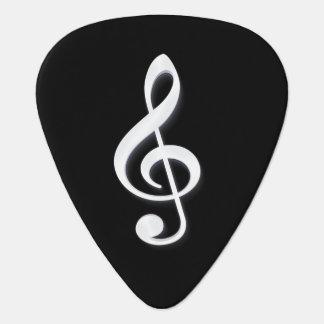 White Treble Clef on a Black Background Guitar Pick