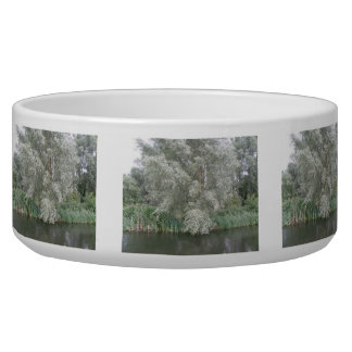 White Tree and River Landscape Dog Bowl