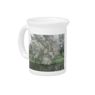 White Tree and River Landscape Pitcher