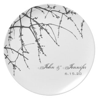 White Tree Branch Silhouette Dinner Plate