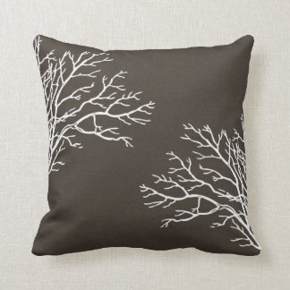 White Tree Branches on Coffee Pillow
