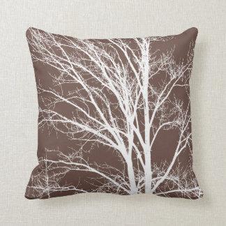 White Tree Branches Throw Pillow