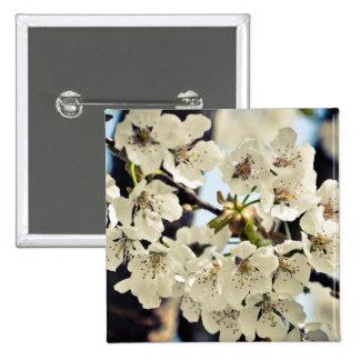 White tree flowers pinback button