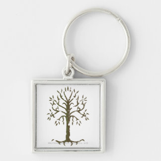 White Tree of Gondor Silver-Colored Square Keychain