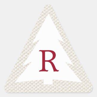 White Tree on Beige, Burgundy Monogram Christmas Triangle Sticker