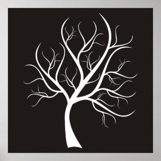 White Tree On Black Poster