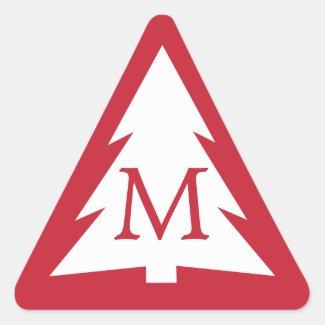White Tree on Red with Custom Monogram Christmas Triangle Sticker