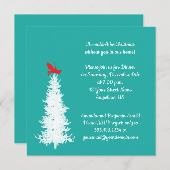 White Tree Red Bird on Teal Christmas Party Invitation