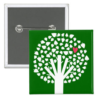 White Tree Silhouette with Heart Leaf 2 Inch Square Button