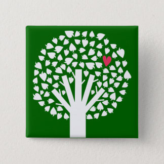 White Tree Silhouette with Heart Leaf Button