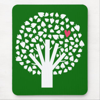 White Tree Silhouette with Heart Leaf Mouse Pad