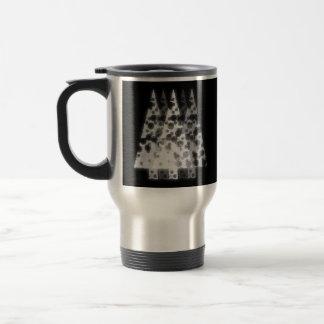 White Trees. Black Background. Christmas. Mug