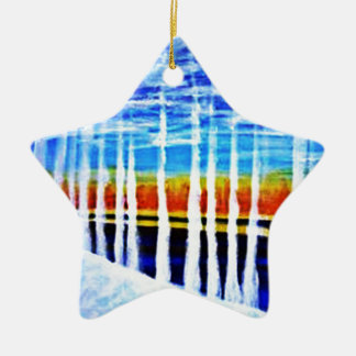 White trees by the lake ceramic ornament