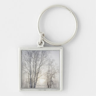 White Trees on a Snowy Day Keychain