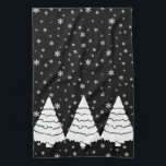 """White Trees on Black Kitchen Towel<br><div class=""""desc"""">Elegant and festive tee features white evergreen trees and snowflakes on a black background.</div>"""