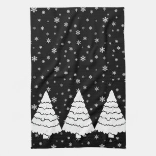 White Trees on Black Kitchen Towel