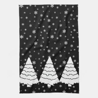 White Trees on Black Kitchen Towel