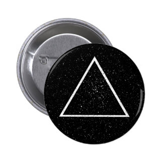 White triangle outline on black star background 2 inch round button