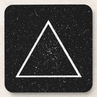 White triangle outline on black star background drink coaster
