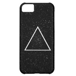 White triangle outline on black star background iPhone 5C case