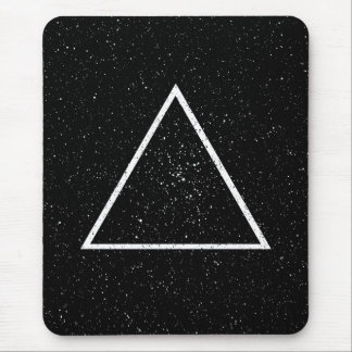 White triangle outline on black star background mouse pad